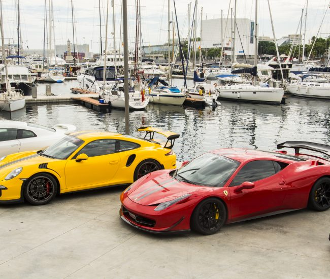 Sports cars at the harbor